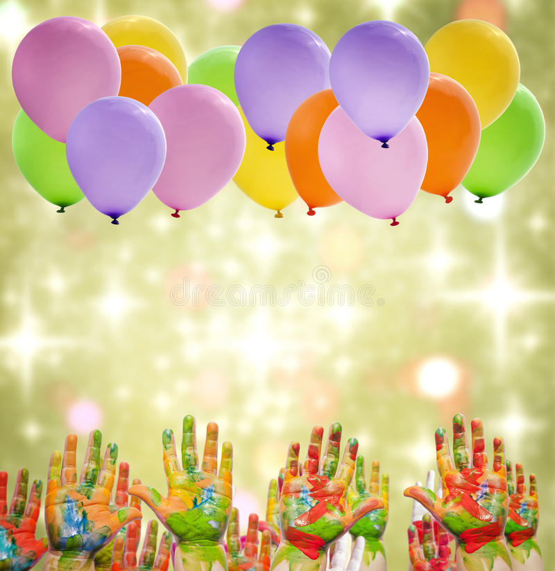 Happy birthday party with painted hands stock photography