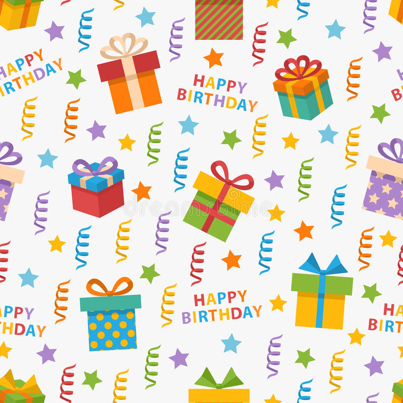 Happy Birthday pattern. Vector seamless pattern on the topic Happy Birthday with gift,star, streamers,celebratory text in flat style royalty free illustration