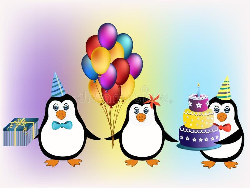 Happy birthday penguins concept stock image