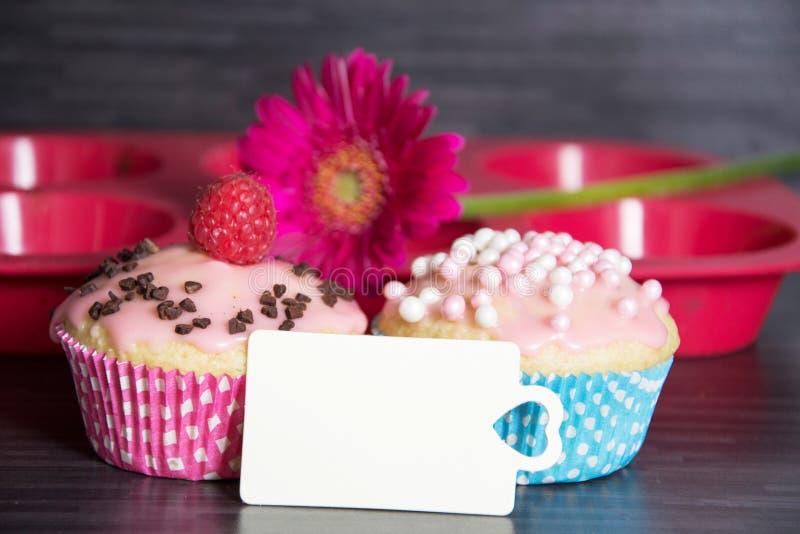 Happy Birthday. Photo of homemade birthday muffins royalty free stock photography