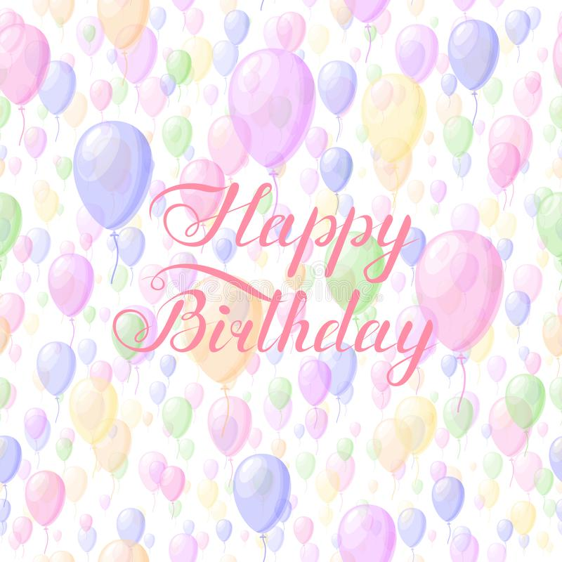 Happy birthday phrase on balloons background. handwritten text calligraphic slogan. design element for greeting card, banner,. Invitation, postcard, vignette vector illustration