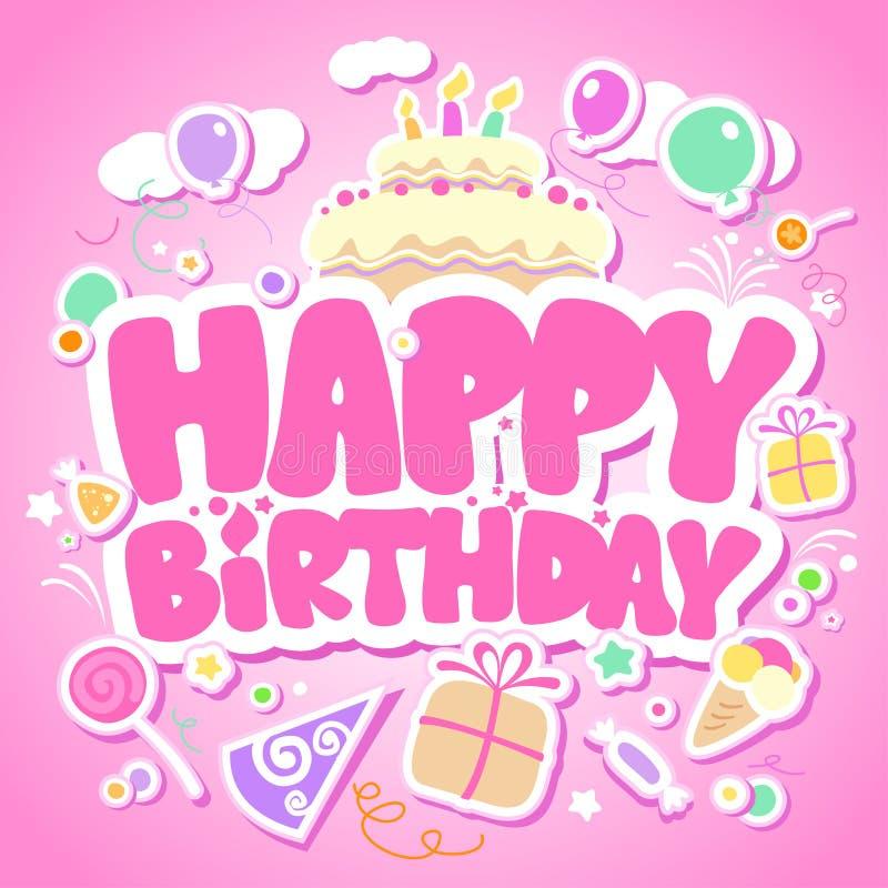 Happy Birthday pink card. vector illustration