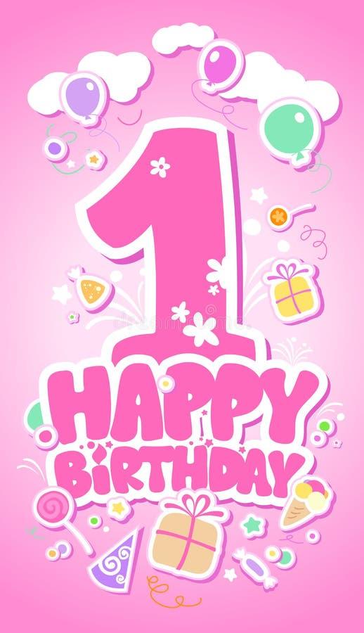 Happy Birthday pink card. royalty free illustration