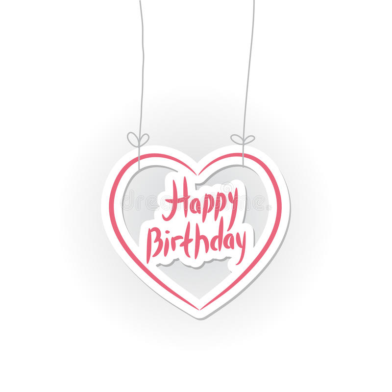 Happy birthday. pink heart on White background. Vector. Illustration vector illustration