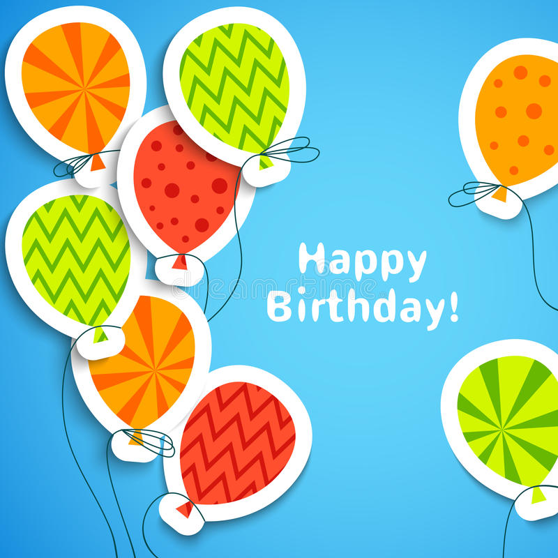 Happy birthday postcard with balloons. Vector. Illustration for your holiday greeting. Postcard picture in bright red, green, orange and blue color stock illustration