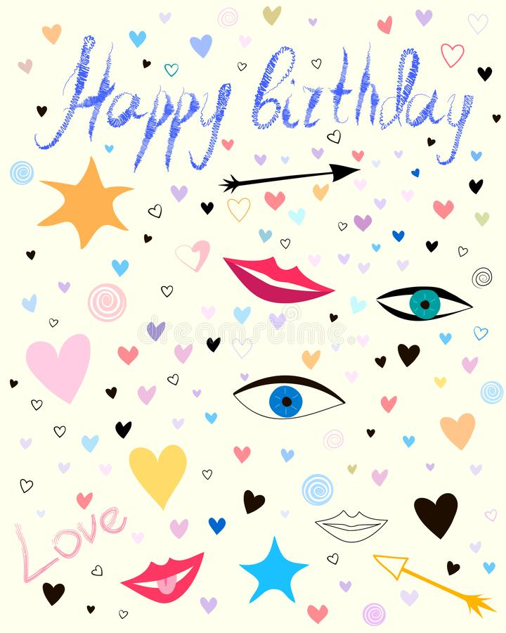Happy birthday postcard or poster. Handwritten text and cute naive hand drawn background stock illustration
