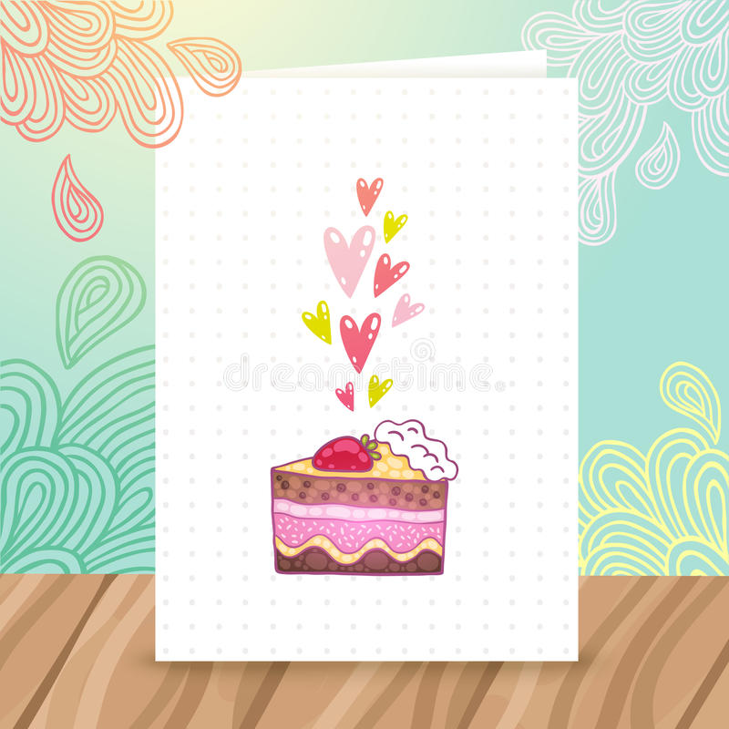 Happy Birthday postcard template with cake stock illustration