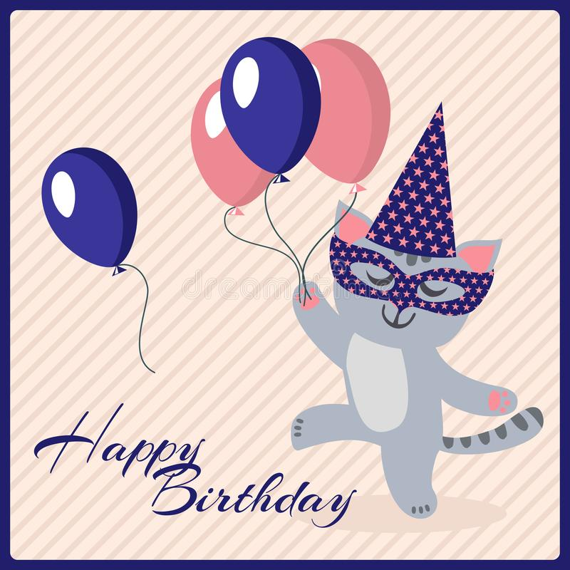 happy birthday postcard template with cute masquerade cat stock