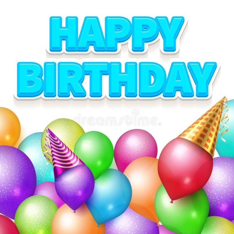 Happy Birthday poster realistic balloons vector illustration vector illustration