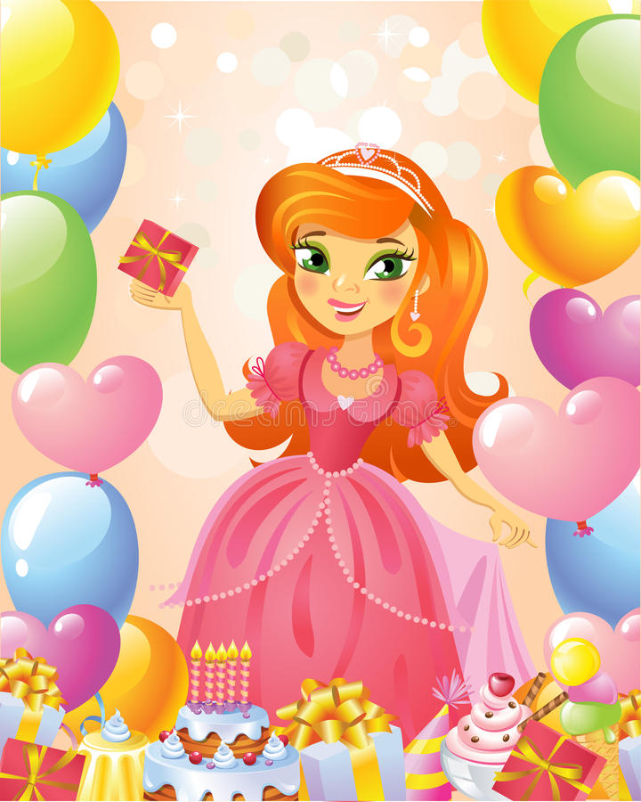 Happy Birthday, Princess, greeting card. Illustration of beautiful princess keeping a gift in a hand. Possible to use as party invitation, greeting card, banner stock illustration