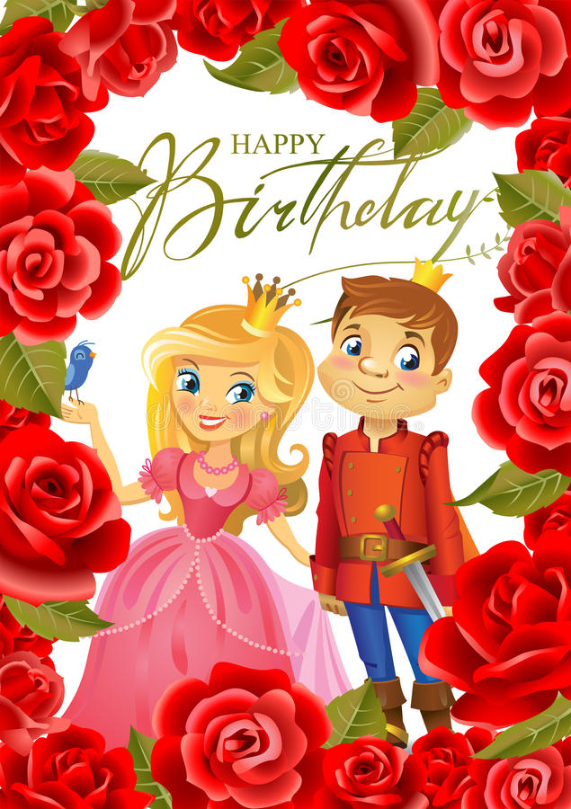 Happy Birthday, Princess and Prince, greeting card. Illustration of beautiful Princess and Prince in frame of roses on wight background , Possible to use as vector illustration
