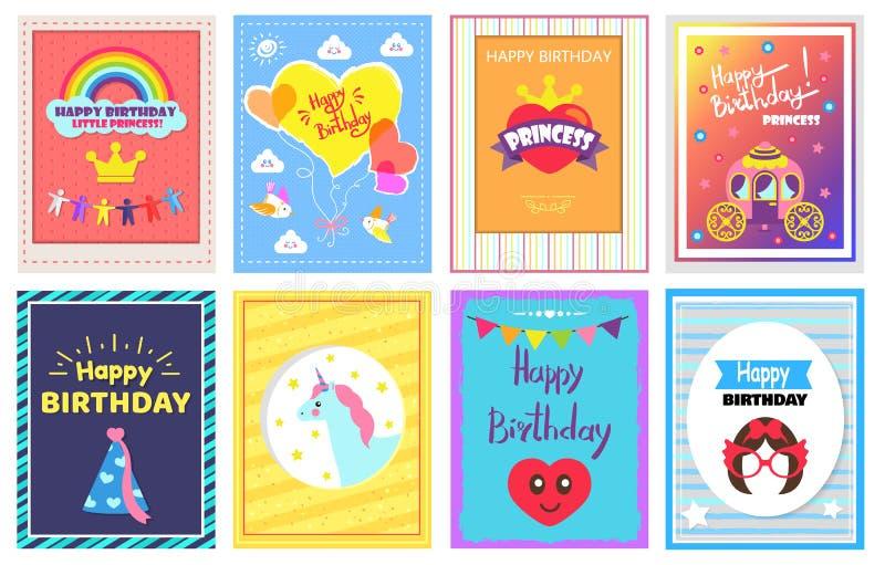 Happy Birthday Princess Set Vector Illustration vector illustration