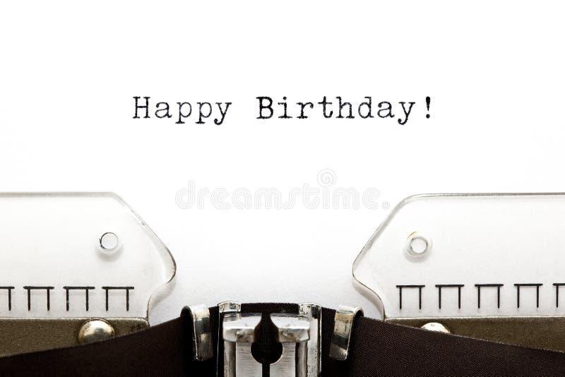 Typewriter Happy Birthday. Happy Birthday printed on an old typewriter stock images