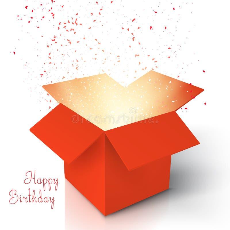 Happy Birthday Realistic Magic Open Box. Magic Box with Confetti. Illustration of Happy Birthday Realistic Magic Open Box. Magic Box with Confetti and Magic vector illustration