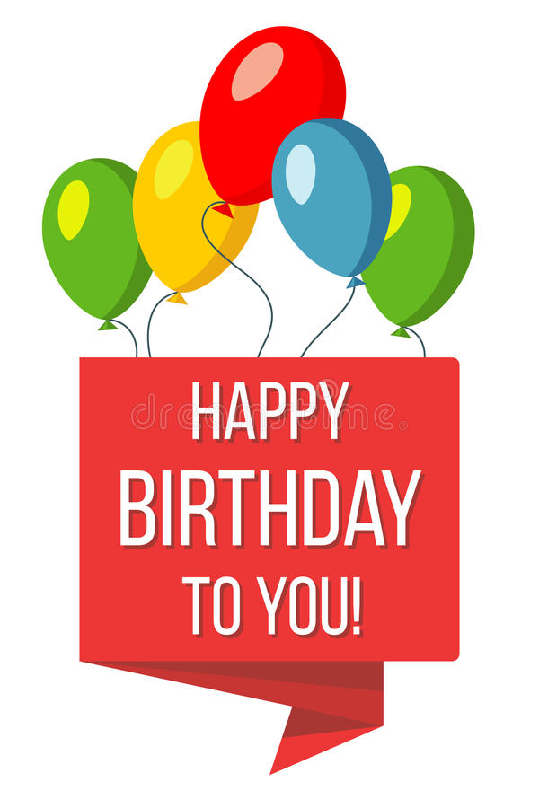 Happy birthday red banner and baloons vector illustration stock illustration