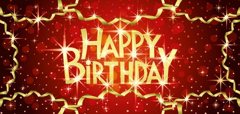 Happy birthday red banner. royalty free illustration