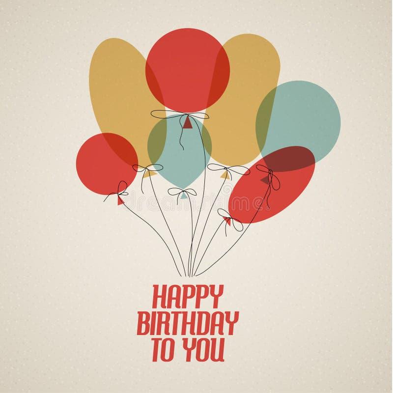 Happy birthday retro vector illustration stock illustration