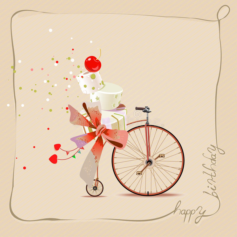 Happy Birthday Romantic Greeting Card Bicycle And Cake Vintage – Romantic Birthday Card