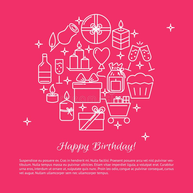 Happy birthday round concept banner template in line style. With place for text. Poster with celebration symbols including candles and gift boxes. Vector vector illustration