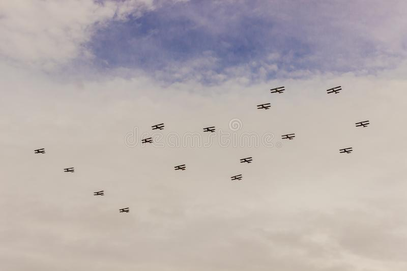 Happy Birthday Royal Air Force. 16 biplanes are wishing happy birthday to the Royal Air Force in its centenary celebration royalty free stock photos