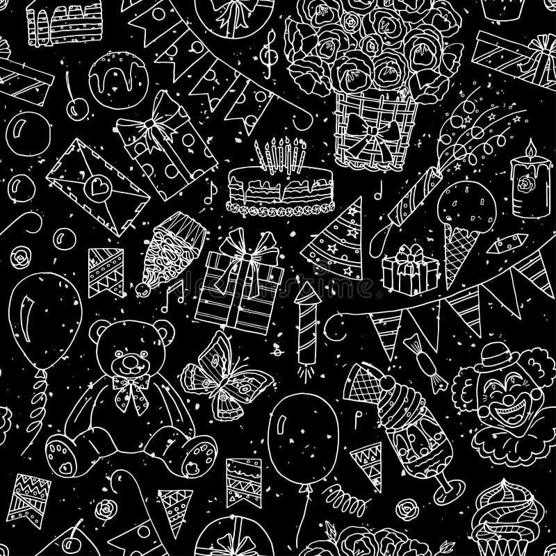 Happy Birthday seamless pattern vector illustration