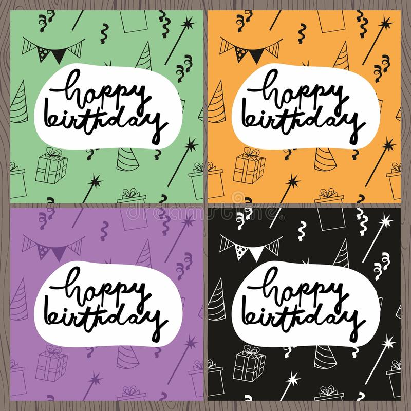 Happy Birthday. Set of colorful vector greeting cards with handwritten inscription and seamless pattern stock illustration