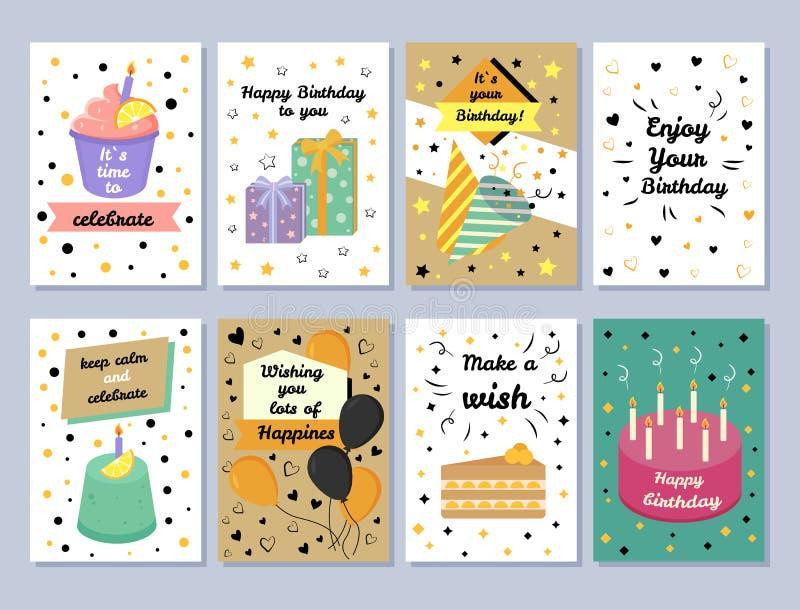 Happy Birthday Card Celebration Vector Illustration royalty free illustration