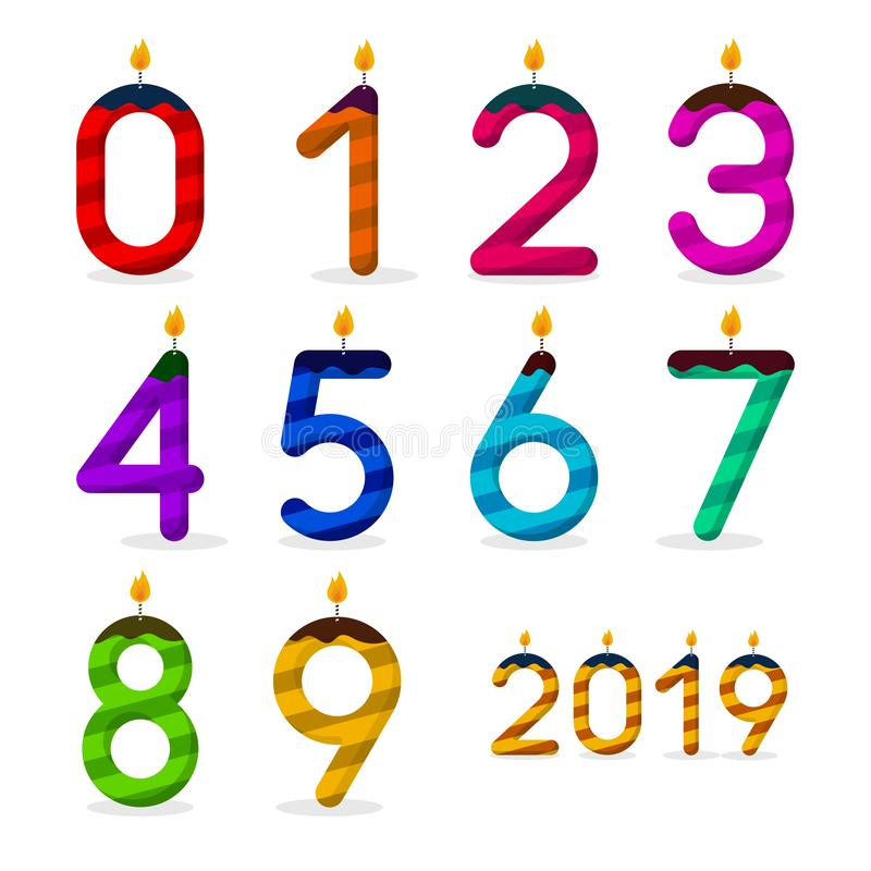 Happy Birthday. Set of numbers with candles. Vector stock illustration