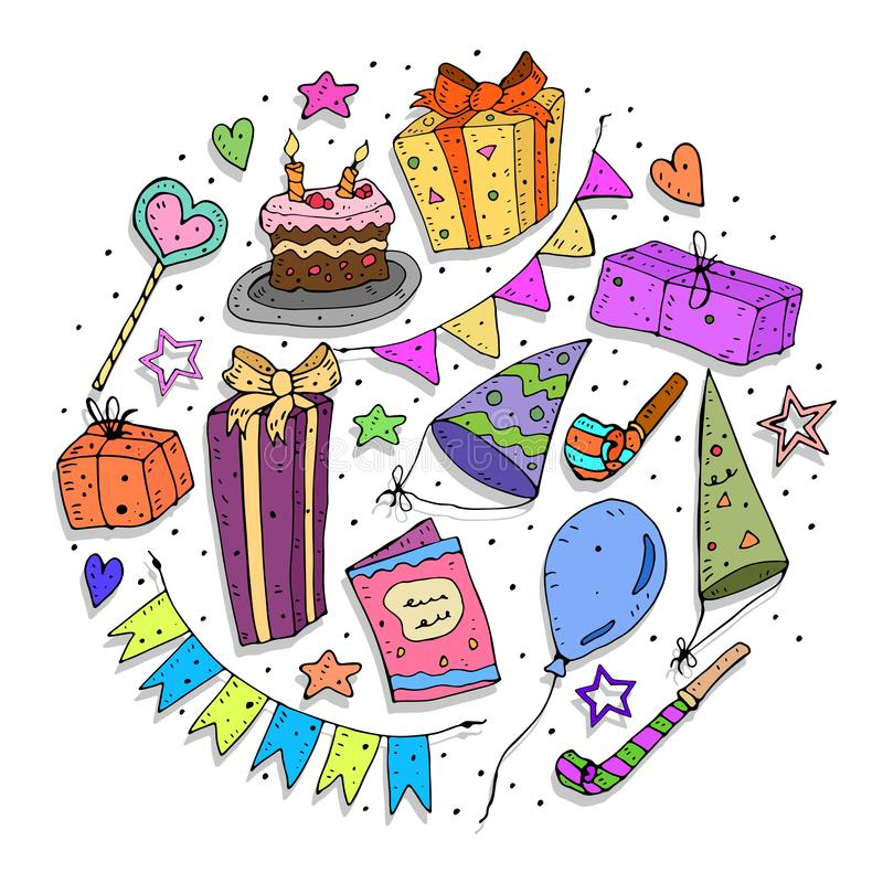 Happy Birthday. Simple colorful holiday set with themed and decorative elements. vector illustration. royalty free illustration