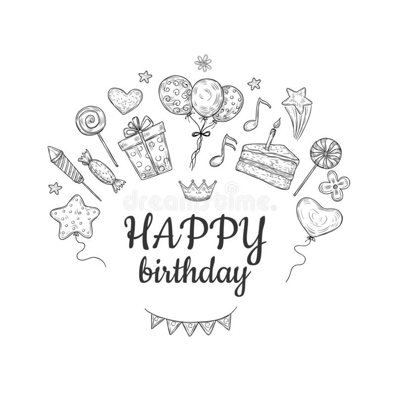 Free Happy Birthday Sketch Background. Birthday Celebration Party Drawn Cake Balloon Kids Surprise Holiday Doodle Vector Stock Photos - 153953843