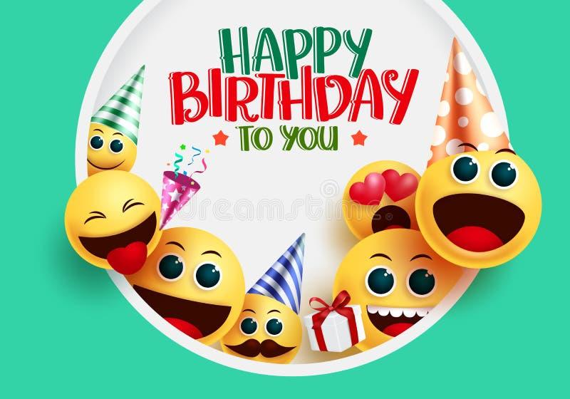 Happy Birthday Smiley Emoji Vector Greeting Design. Happy ...