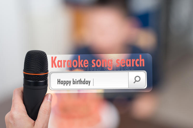 Happy birthday song entered in karaoke. System search box royalty free stock images