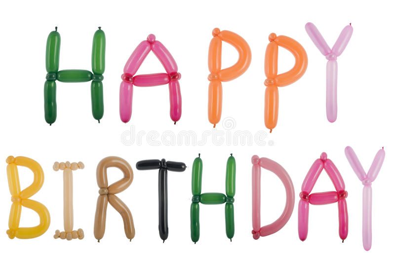 Happy birthday spelled out with balloons. Isolated on white royalty free stock image