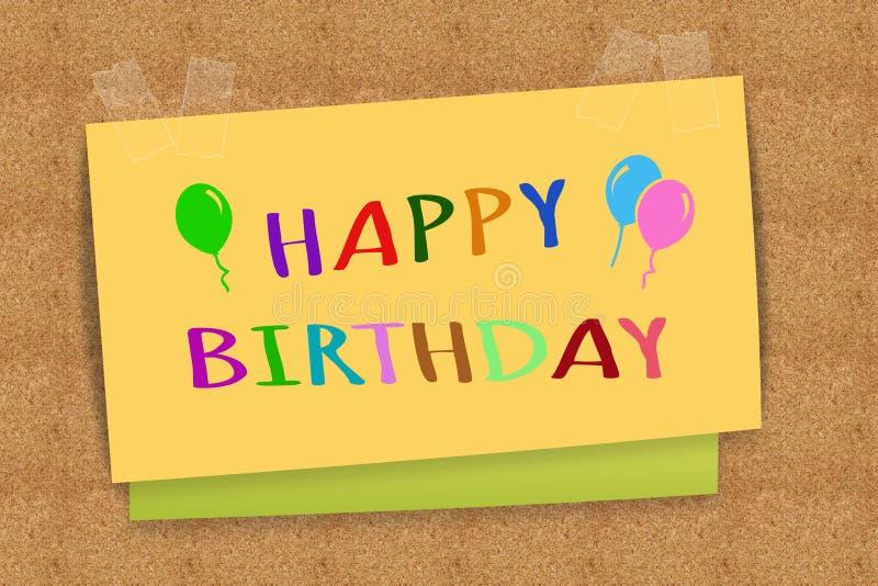 Happy Birthday. On sticky note stock image