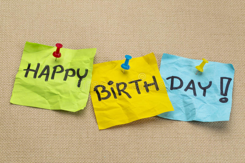 Happy birthday on sticky notes stock images