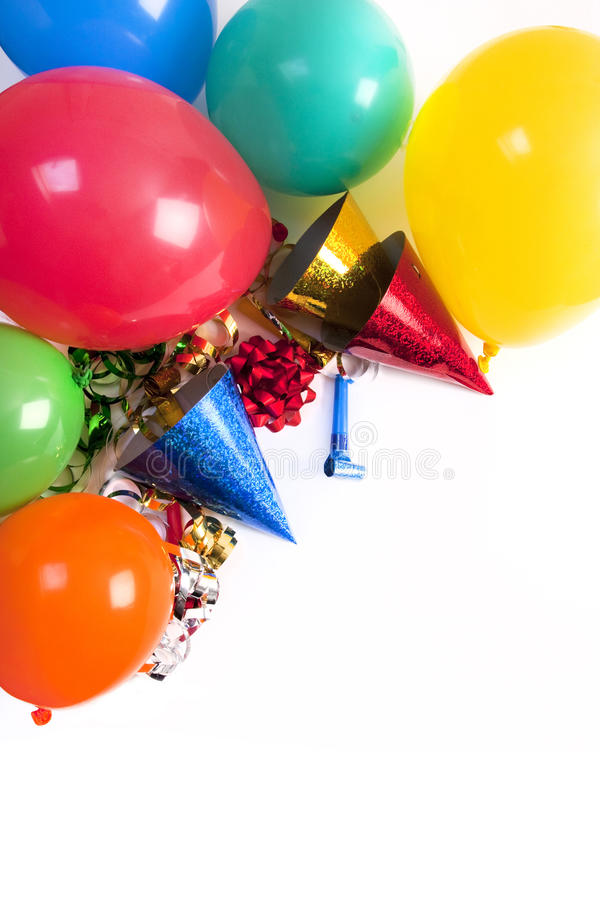 Happy birthday still life. Happy birthday studio shot on a white background stock photo