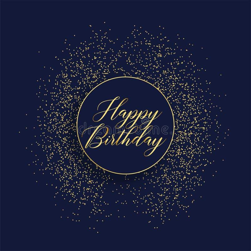 Happy birthday stylish card design with glitter stock illustration
