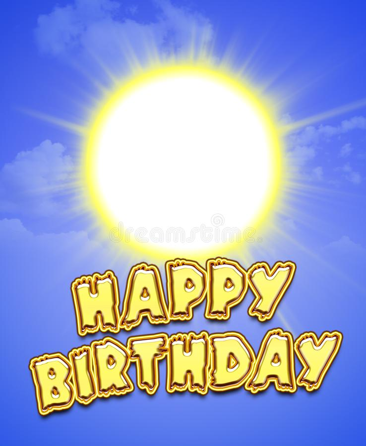Happy birthday sunny greeting card for a party. For print and web. royalty free stock photography