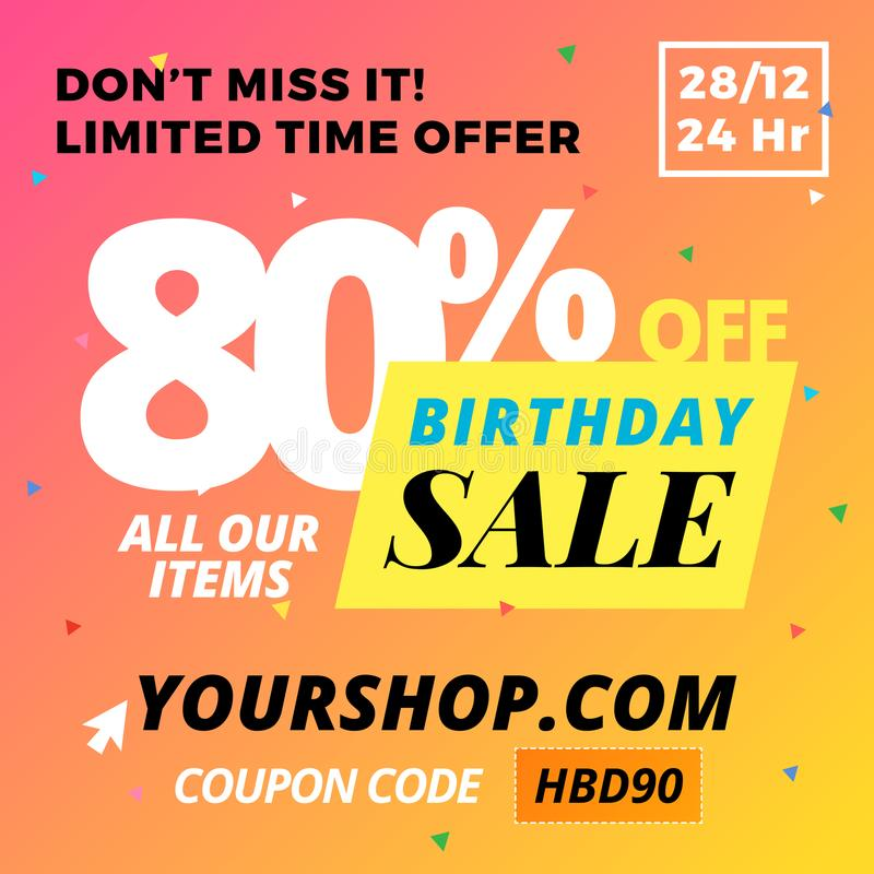 Happy Birthday Super Sale Banner. Online Shop Website Promotion. Vector EPS10 stock illustration