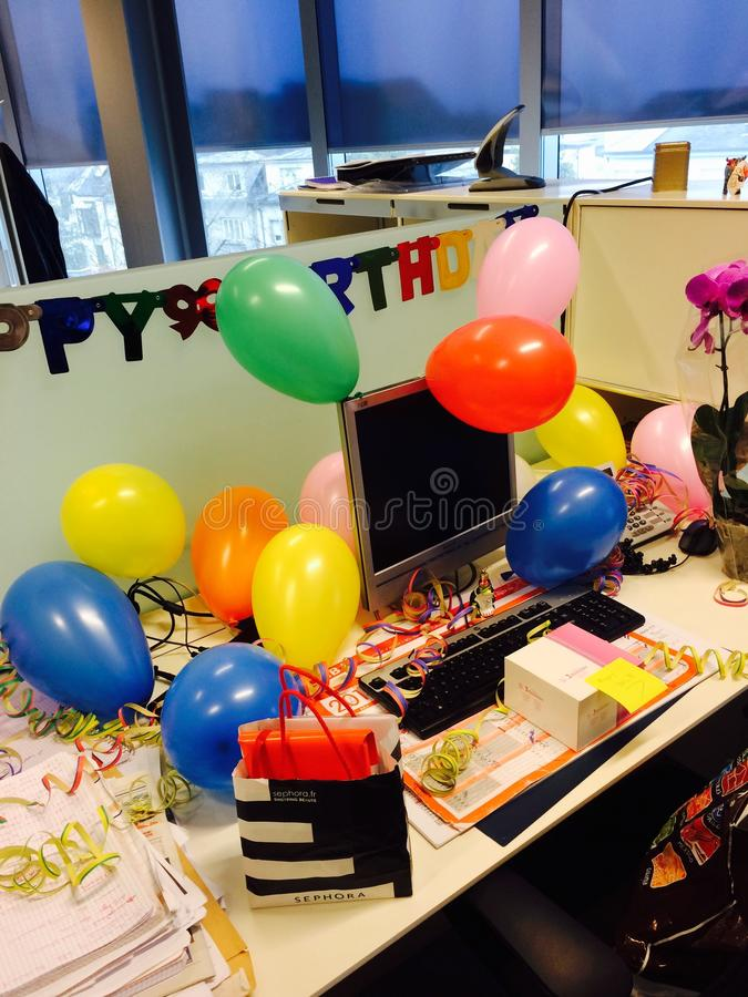 Happy birthday. Surprise at work place royalty free stock photos
