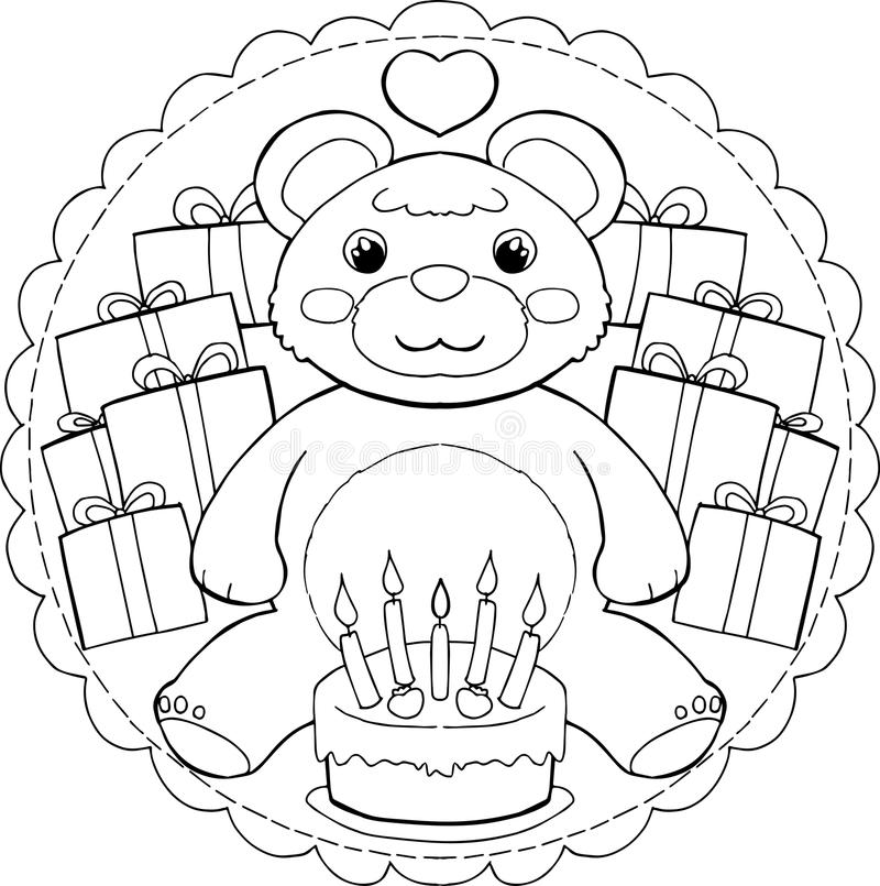 Happy Birthday Teddy Bear Mandala Stock Vector ...