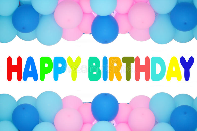 Happy birthday. Text with balloons frame stock image