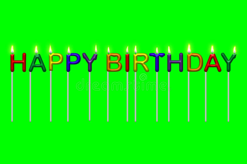 Happy Birthday Illustration Font ~ Happy birthday text candles isolated stock illustration of party