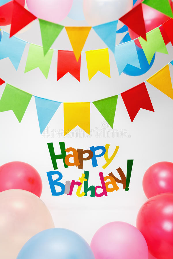 Happy Birthday text. Celebration Happy Birthday text, balloons, flags royalty free stock image