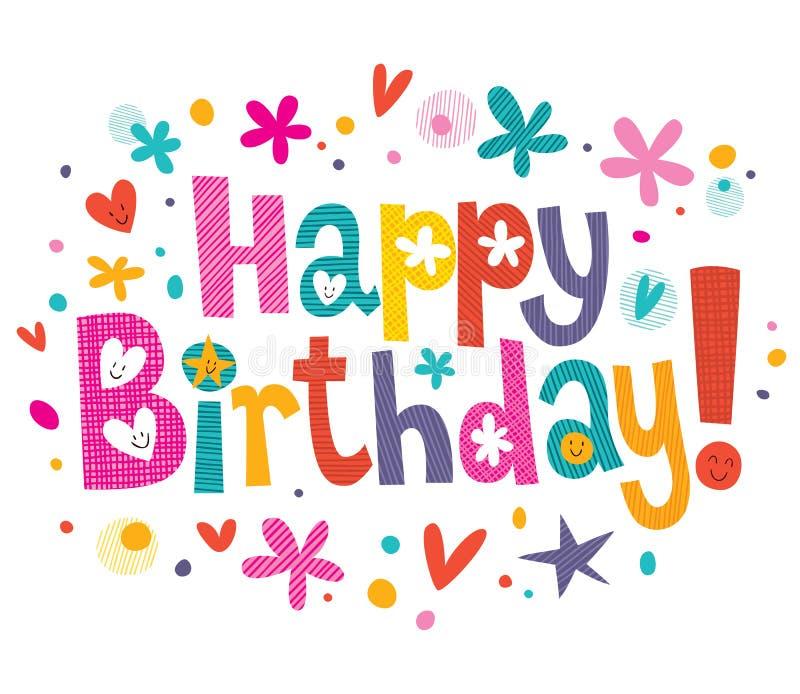 Happy Birthday Text Stock Image