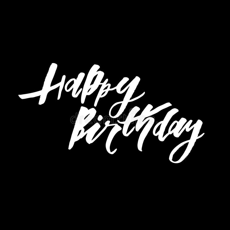 Happy Birthday text lettering calligraphy black white stock illustration