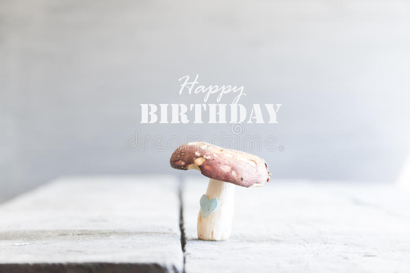 Happy birthday, text and mushrooms royalty free stock image
