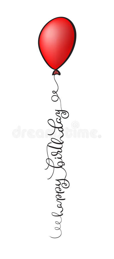Happy Birthday Text with red balloon on white background. Calligraphy lettering Vector illustration EPS10 royalty free illustration