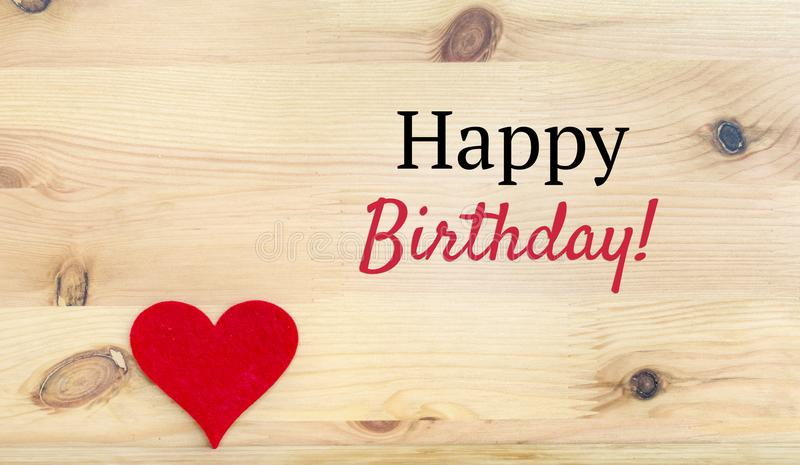 Happy Birthday Text and Red Heart stock images