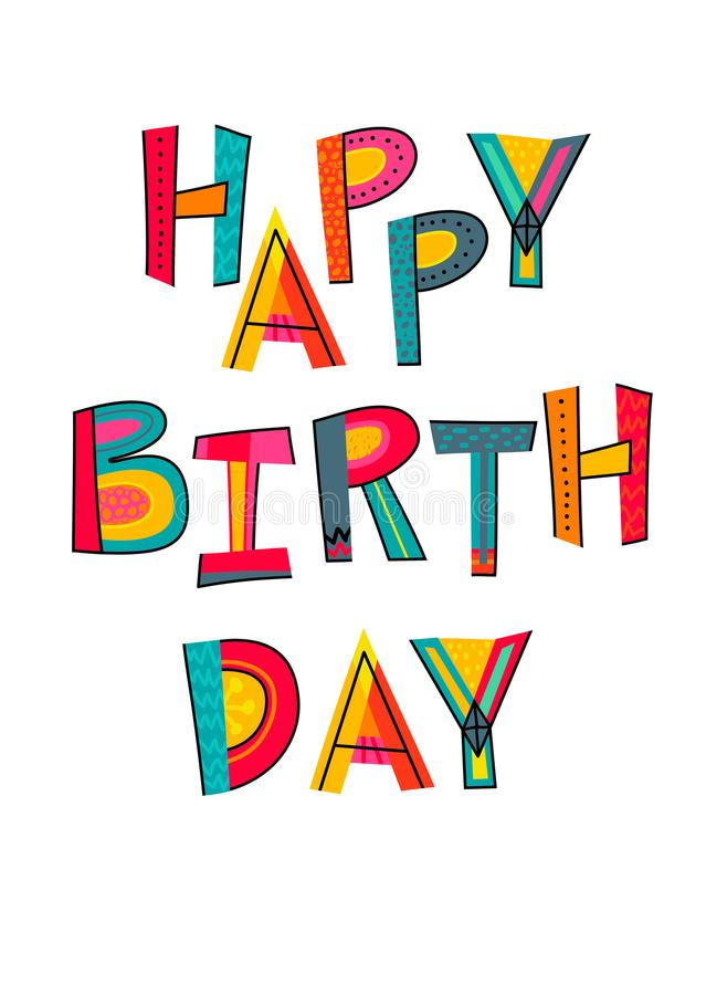 Happy birthday text. Typography for card, poster, invitation or royalty free illustration